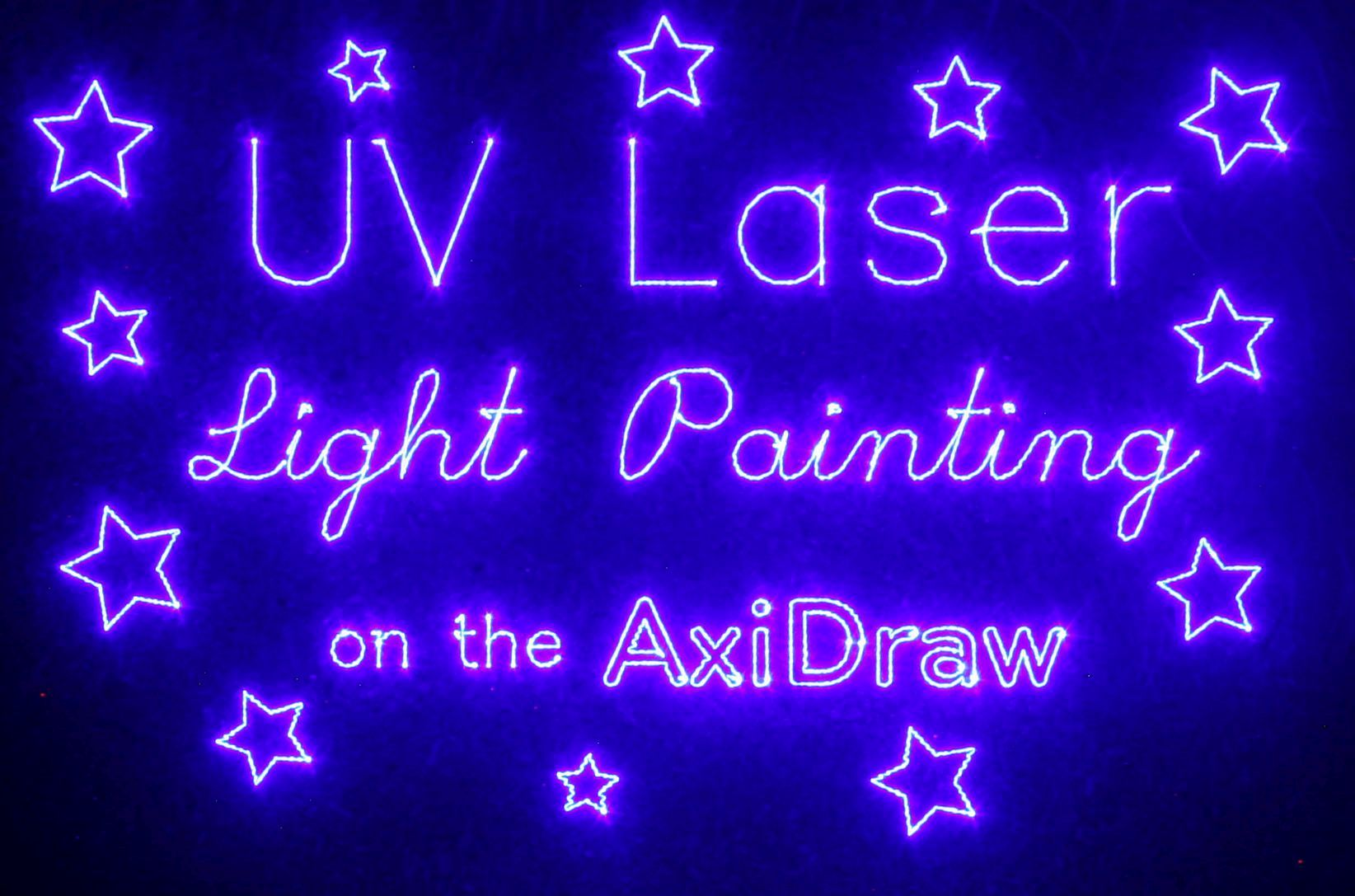 AxiDraw laser cutting, light painting and phosphorescent/glow in the