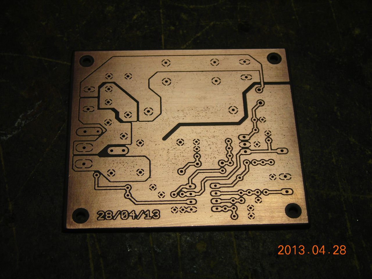 Making Pcbs Plain Copperclad Fibreglass Circuit Board Rapid Online Brightened Up With Abrasive Block