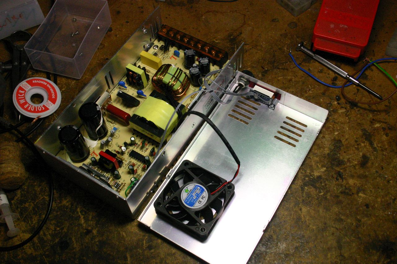 Modifying A Chinese Power Supply To Provide Variable Voltage Well Atx Schematic Diagram In Addition Overall View Of The Supplys Insides New Feedback Divider Connections